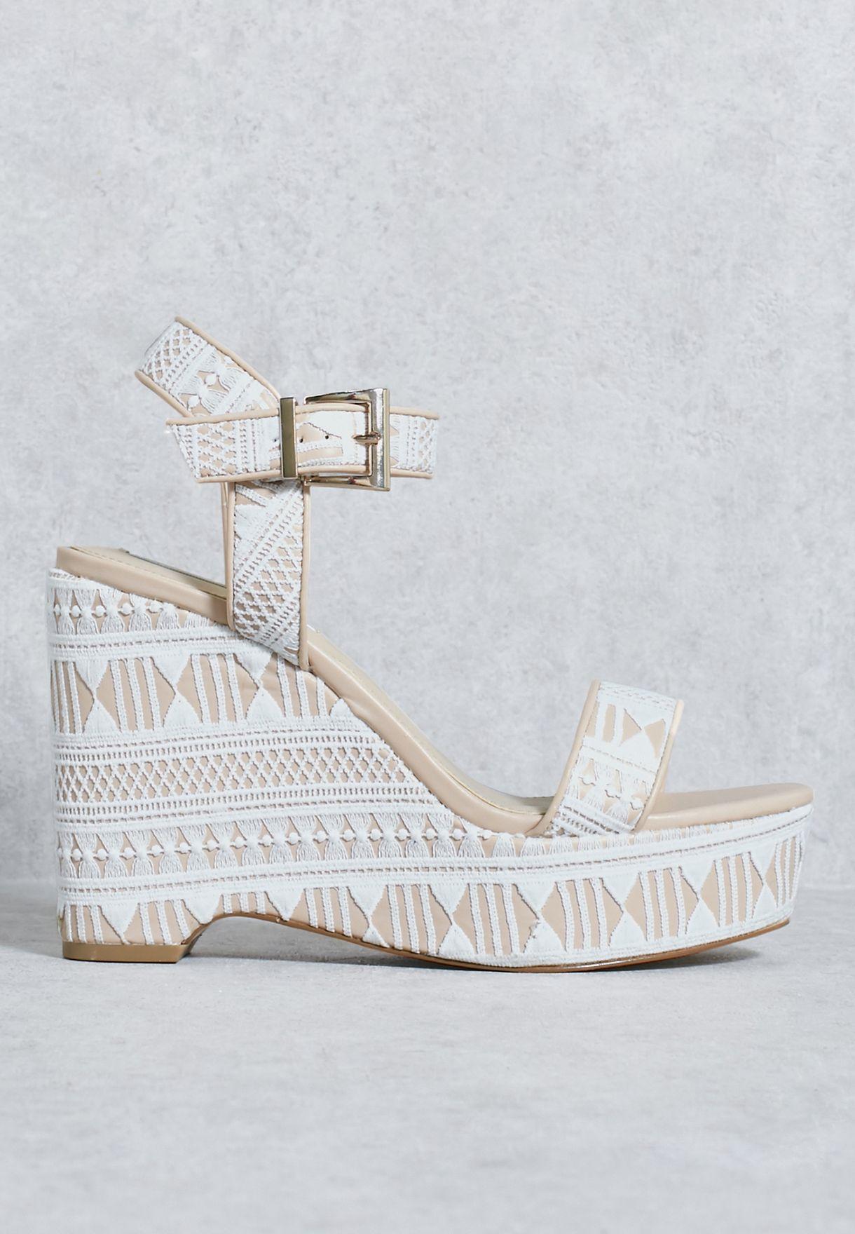 e3d89a34876452 Shop Miss Selfridge multicolor Neutral Wedge Sandal 51M02UWHT for ...