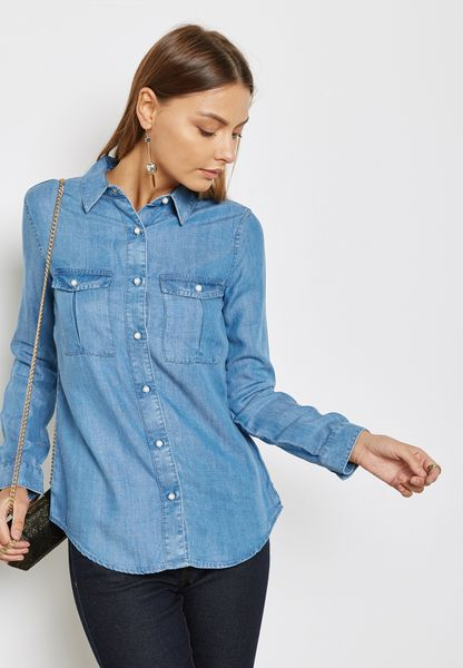 Pearl Button Denim Shirt