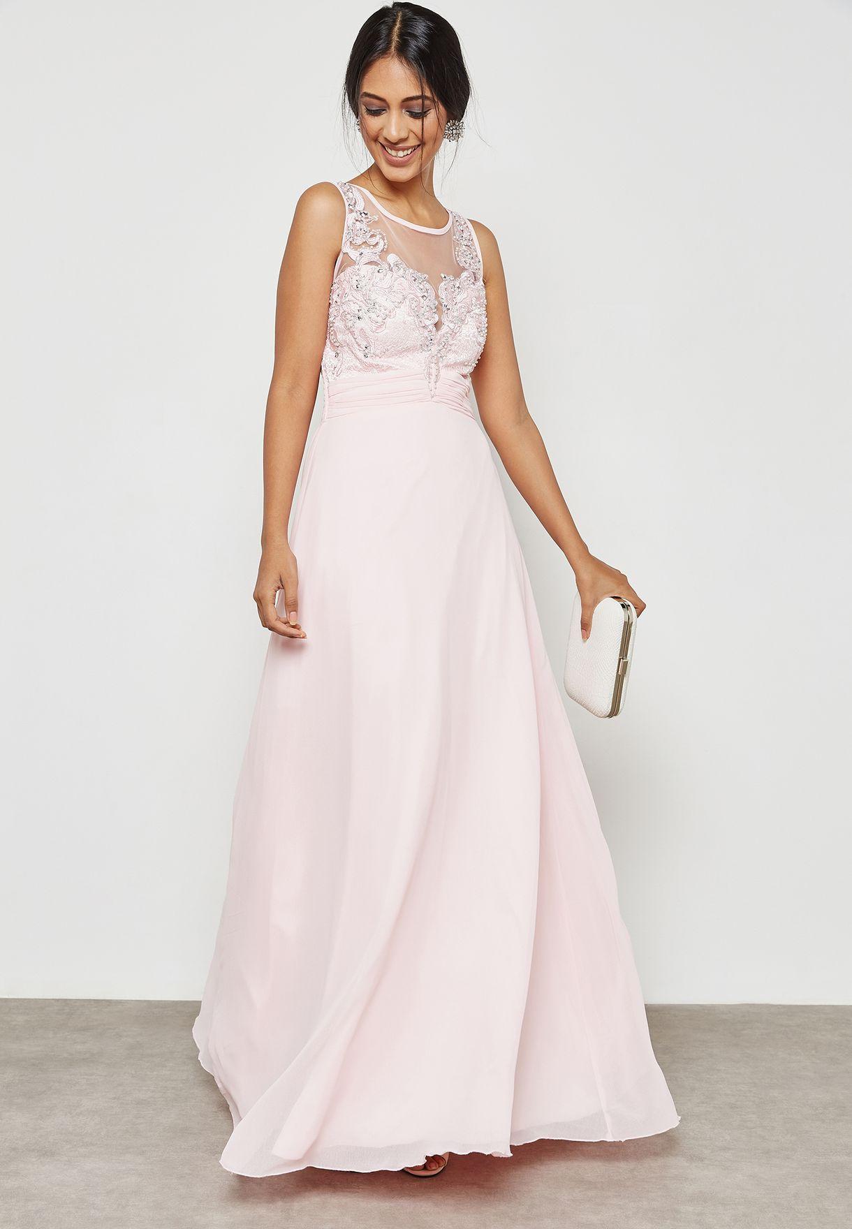 4f188c1b57e Shop Quiz pink Embellished Detail Plunge Maxi Dress 00100010098 for ...