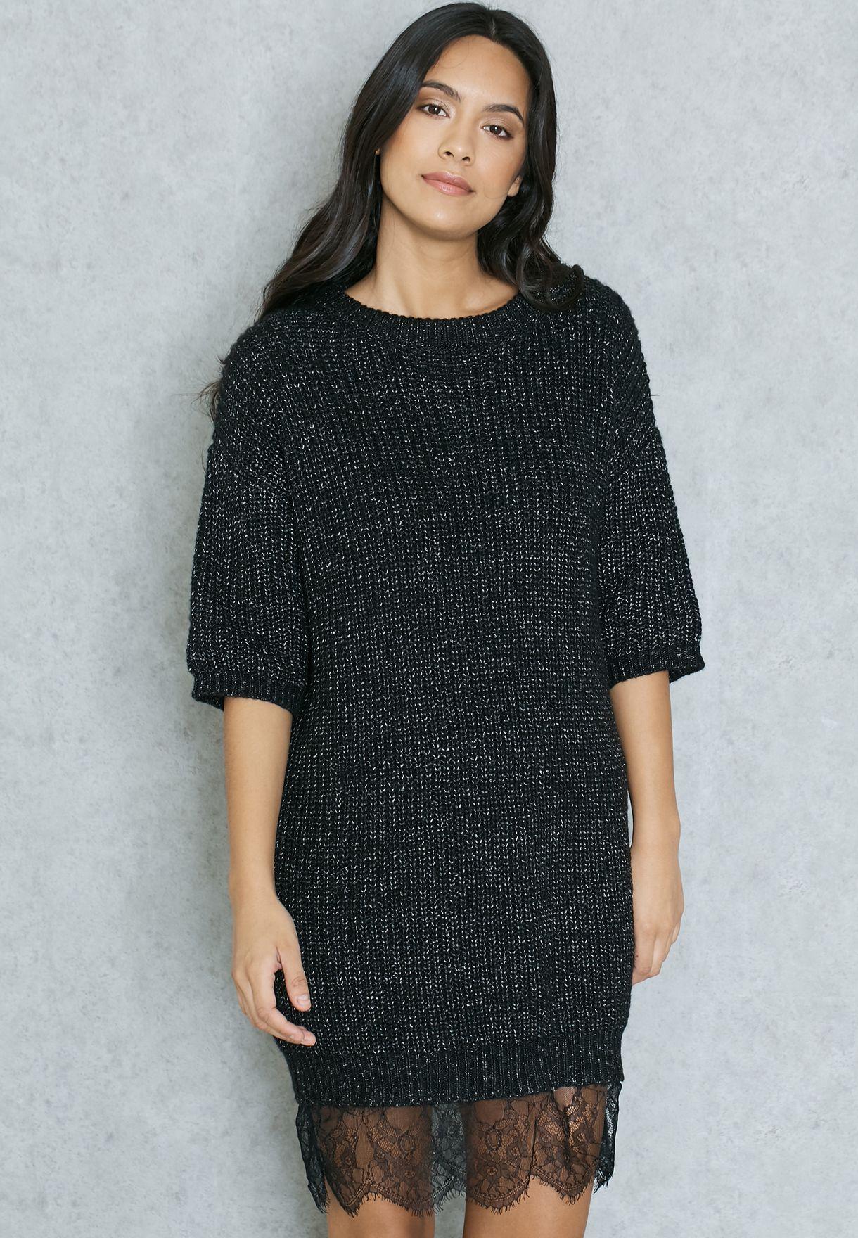 373375d49c1 Shop Ginger black Lace Hem Sweater Dress for Women in Qatar ...