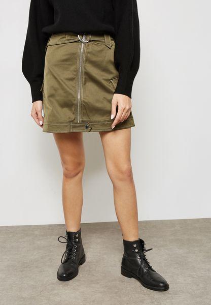 Pocket Detail Belted Skirt