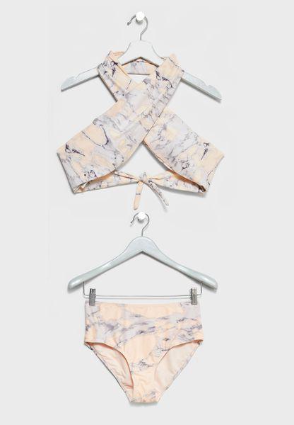 Halter Marble Printed Bikini Set