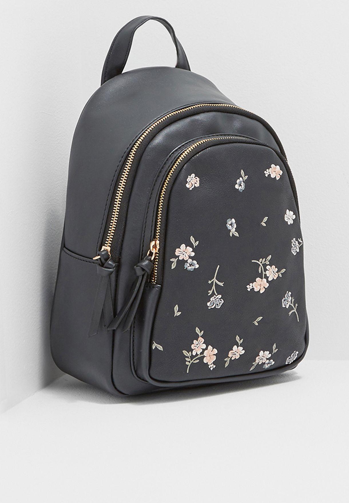 d6d8904c9467 Shop New Look black Mini Frances Floral Embroidered Backpack ...