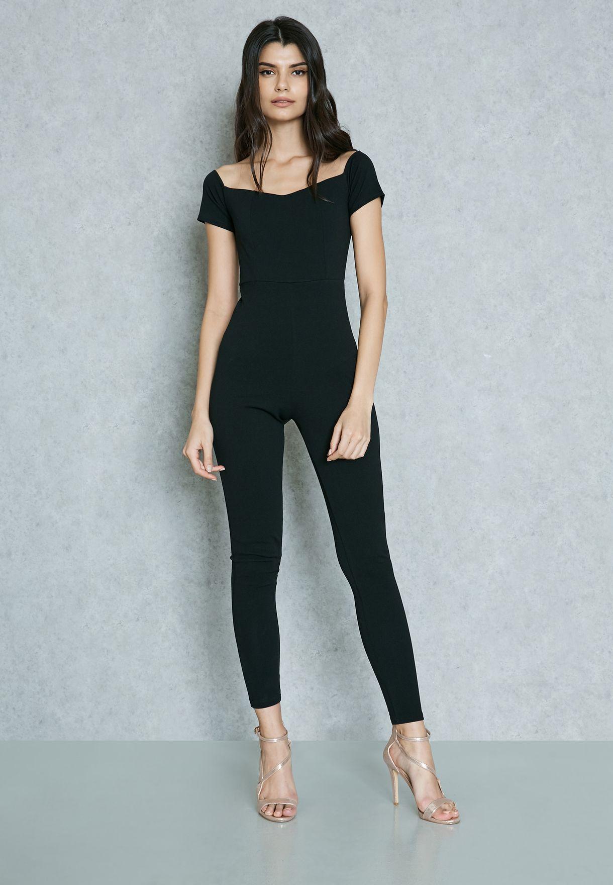 c2ec06cd86f Shop Missguided black Bardot Jumpsuit M9901891 for Women in Qatar -  MI669AT56WJZ