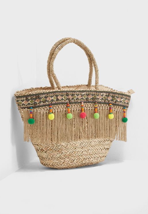 Large Basket Pom Pom Bag