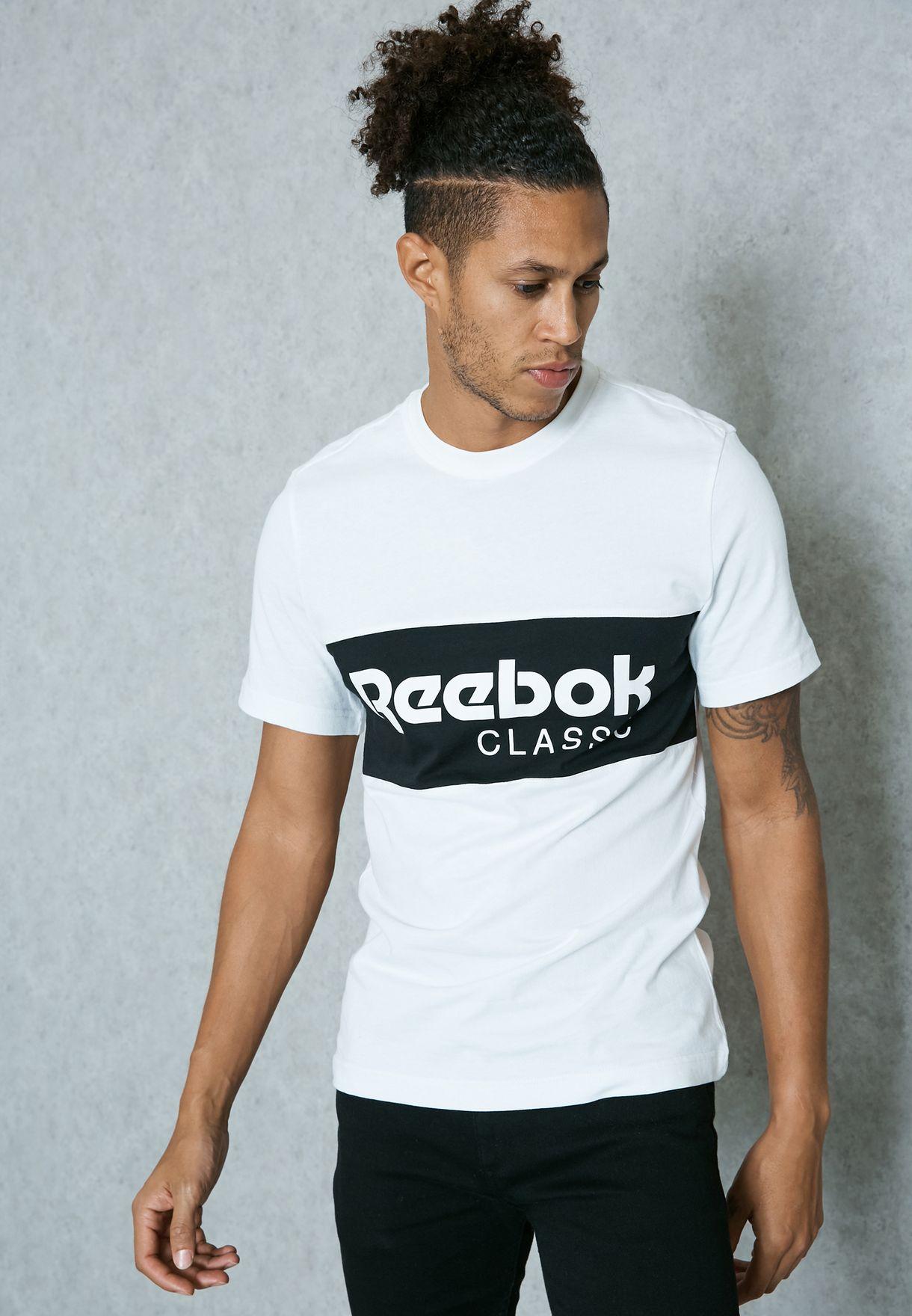 8e7b8515b496 Shop Reebok white Archive Stripe T-Shirt BK3835 for Men in Saudi ...