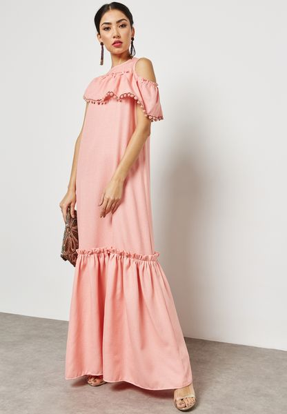 Ruffle Pom Pom Cold Shoulder Dress