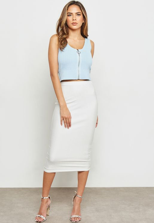 Shiny Ribbed Midi Bodycon Skirt