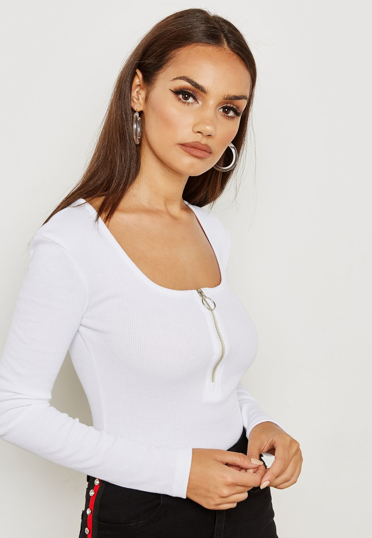 50bbf5352950 Shop Missguided white Zip Front Scoop Neck Ribbed Body TJC10871 for ...