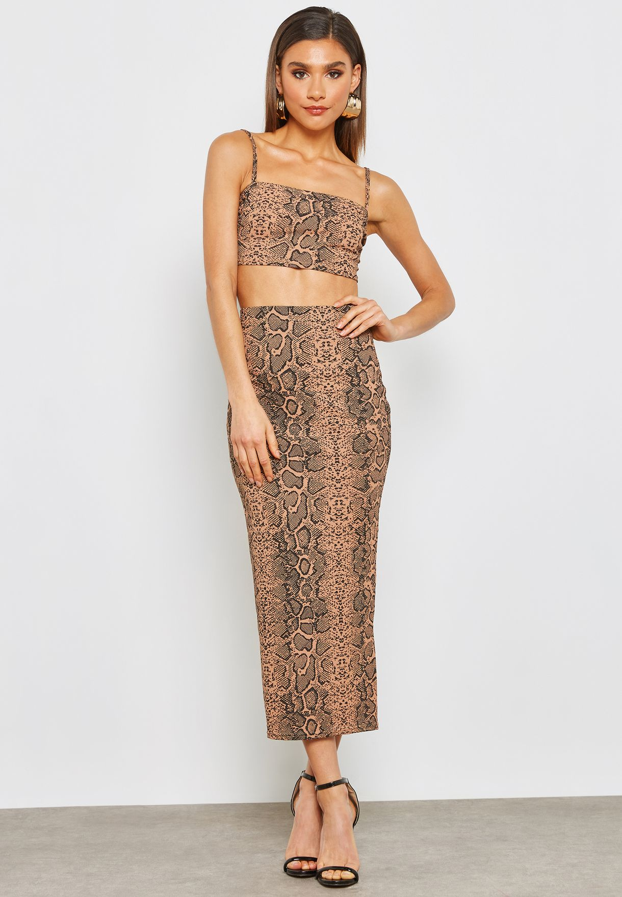 a3456ae9f700 Shop Missguided prints Printed Midi Skirt Co-ord Set S10000416 for ...