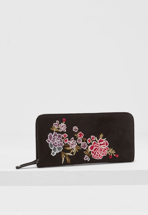 Ellie Embroidered Floral Zip Around Purse