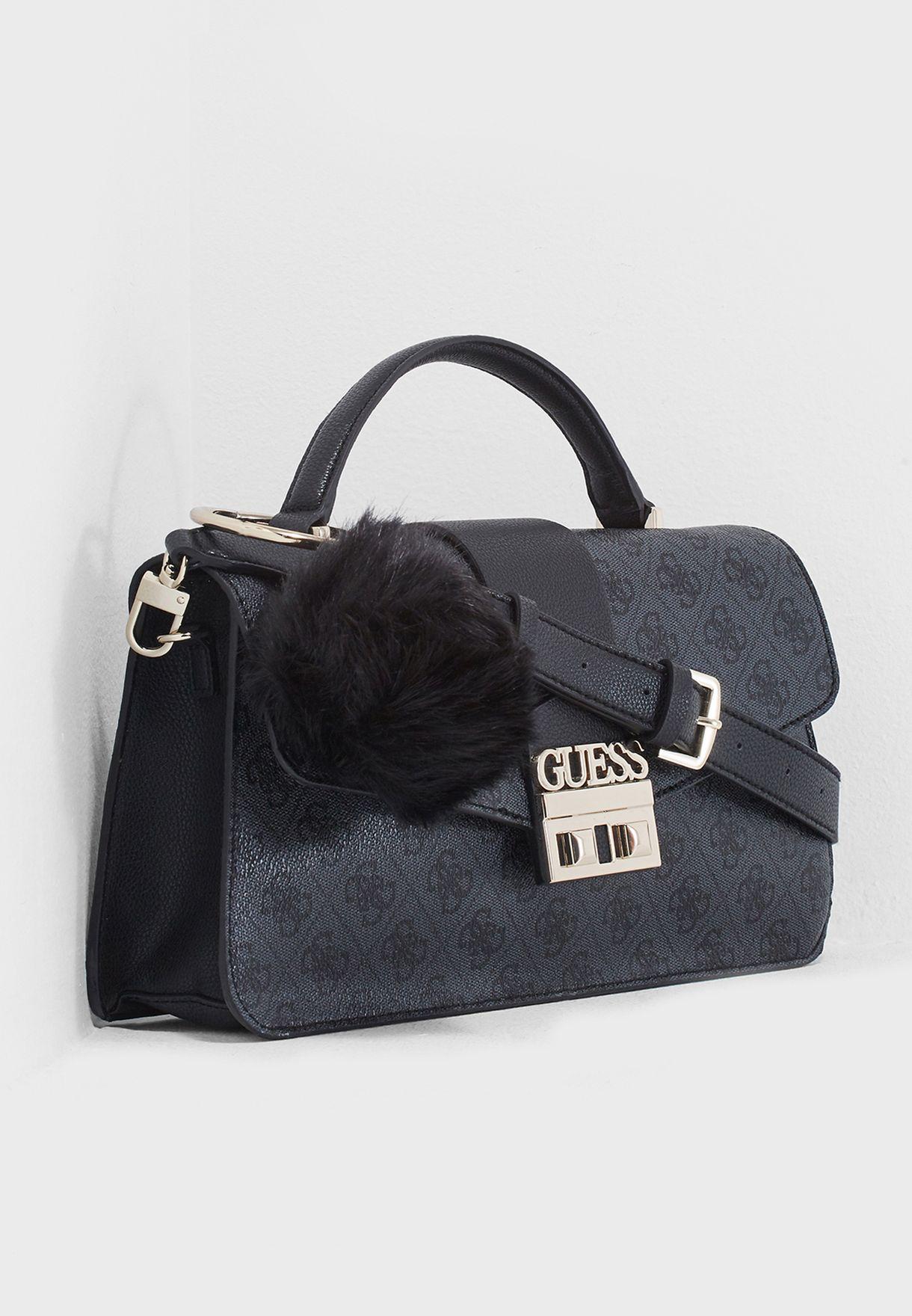 Shop Guess black Luxe Top Handle Flap Satchel SG710218COA for Women ... 782279eb38