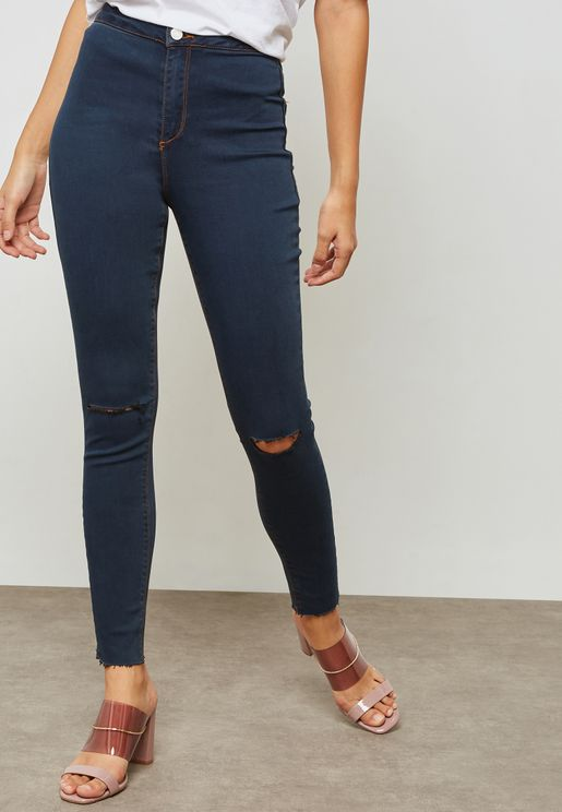 Vice High Waist Slash Knee Skinny Jeans