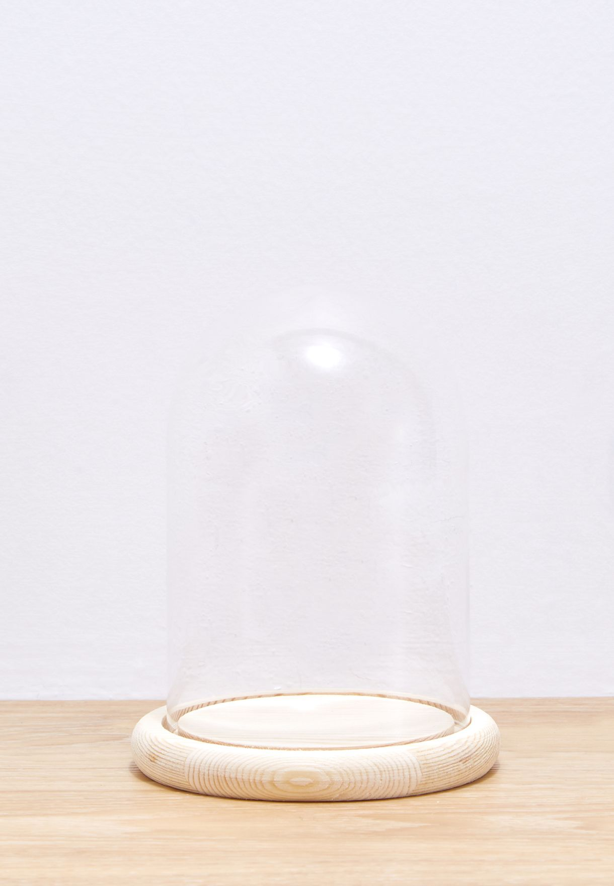 Large Bell Glass Wood Base (Plant Not Included)