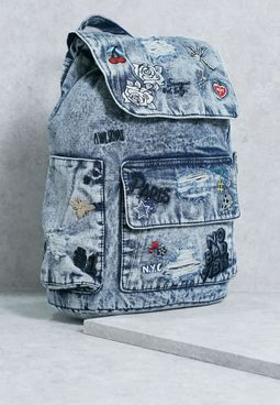 Denim Graffiti Backpack