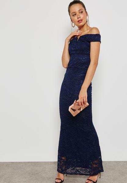 Lace V-Bar Bodycon Maxi Dress