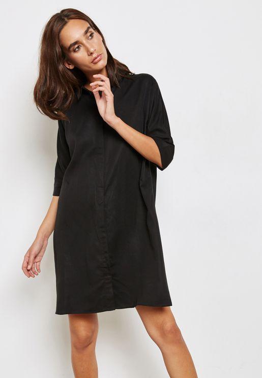 Roll Sleeve T-Shirt Dress
