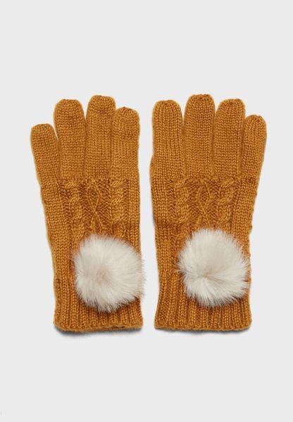 Cable Faux Fur Pom Glove