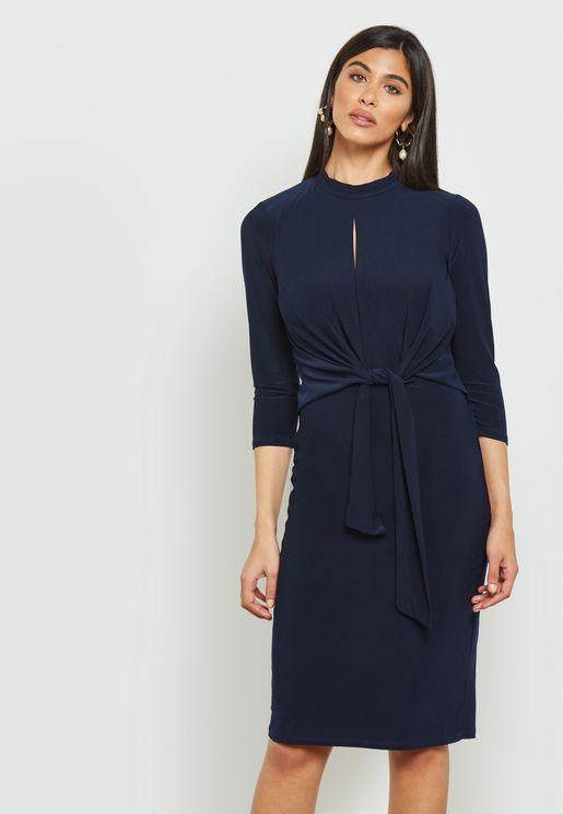 Keyhole Twist Front Dress