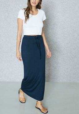 Drawstring Maxi Skirt