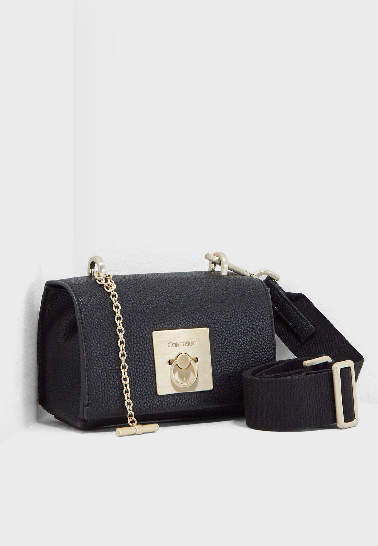 e1bb2356a43 Shop Calvin Klein black Lock Flap Small Crossbody K60K604888 for ...