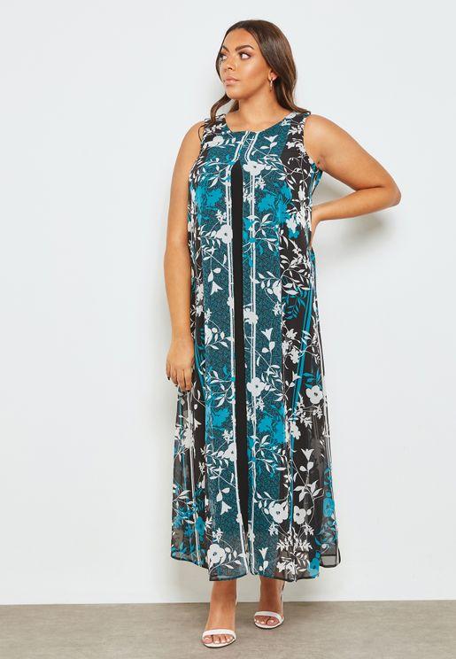 Floral Print Split Maxi Dress