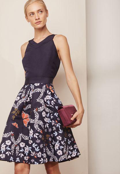 Floral Contrast Printed Dress