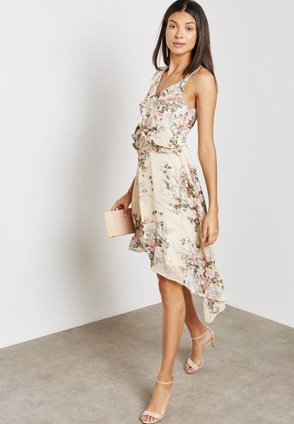 Printed Ruffle Asymmetric Dress