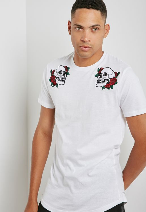 Skull And Rose Print T-Shirt