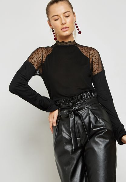 High Neck Lace Detail Sleeve Top