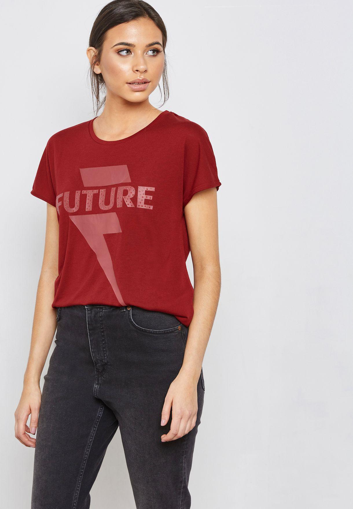 702e60ffdba Shop Jacqueline De Yong red Printed Short Sleeve T-Shirt 15161102 ...