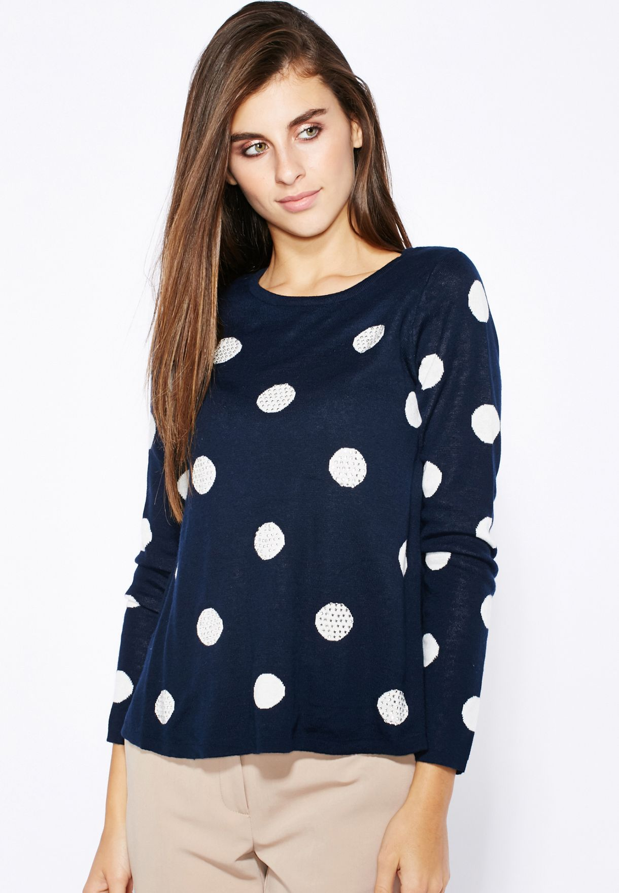 63fd7cb3895ee Shop Dorothy Perkins navy Spotted Swing Sweater 55326830 for Women ...