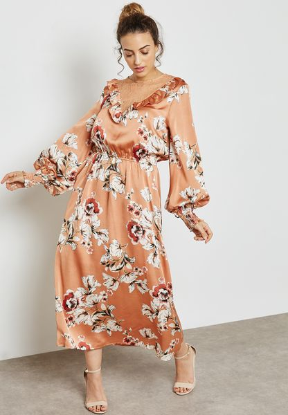 Floral Print Lace Yoke Ruffle Maxi Dress