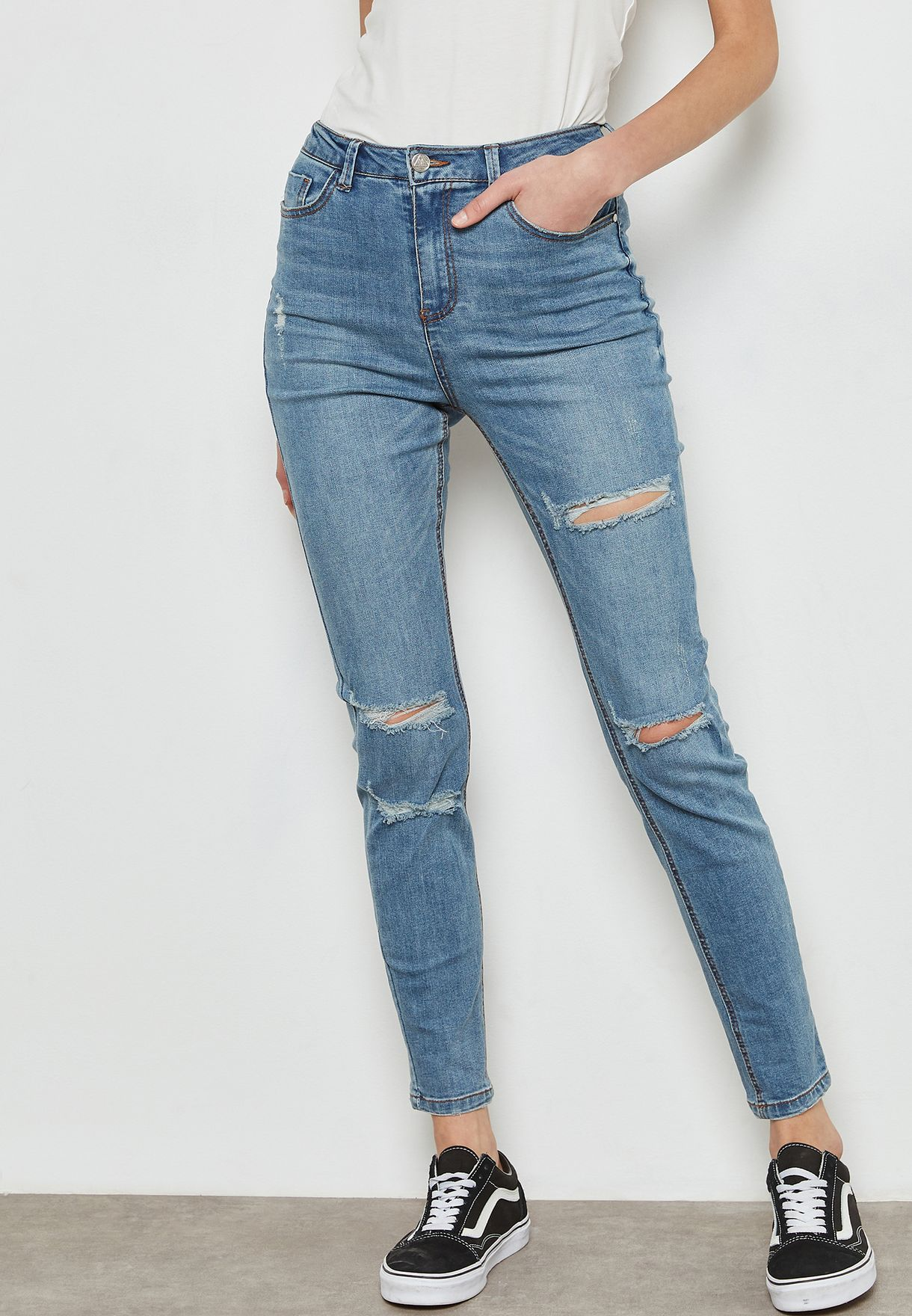 f1af8a4500797a Shop Missguided blue Sinner High Waist Ripped Skinny Jeans ...