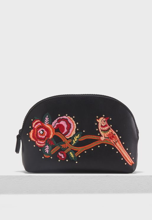 Bird Embroidered Cosmetic Bag