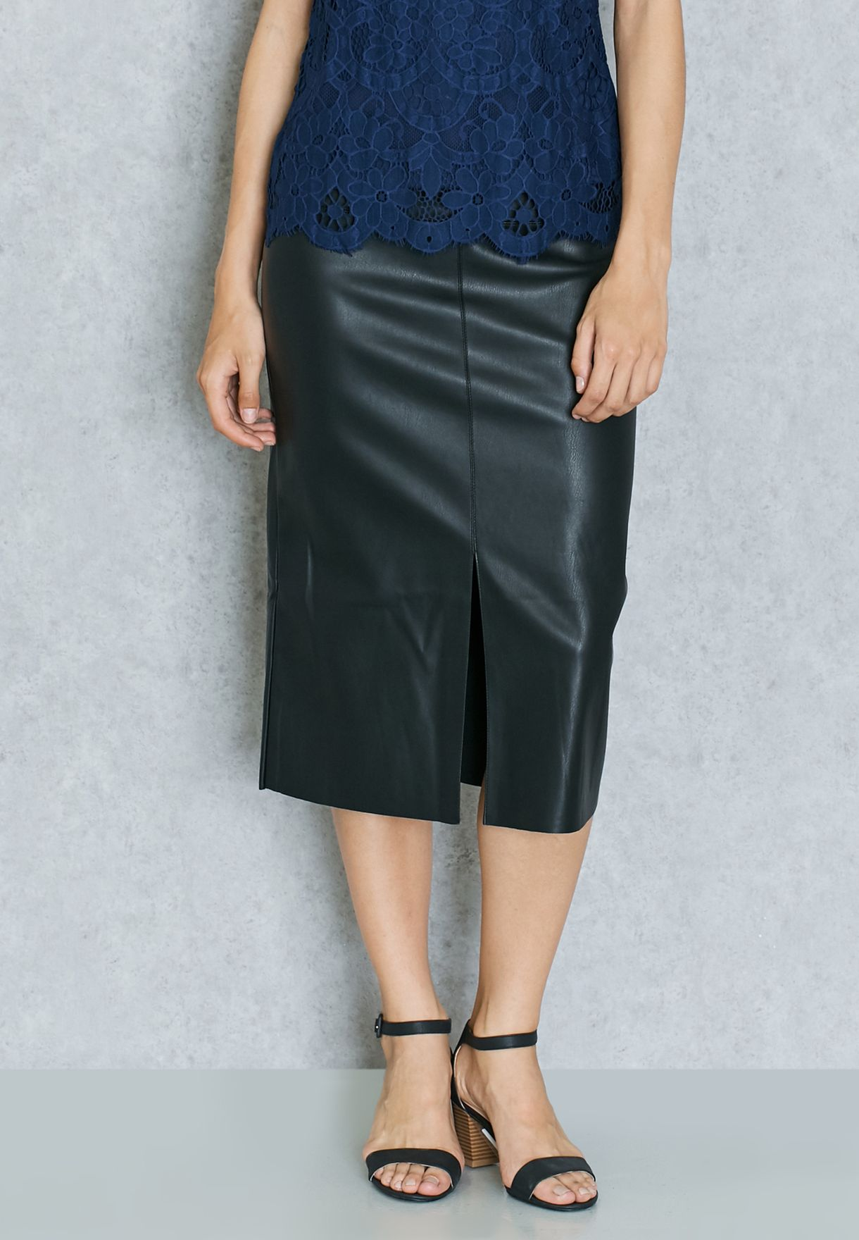 4567c8e43 Shop Dorothy Perkins black Front Split PU Pencil Skirt 14732010 for ...
