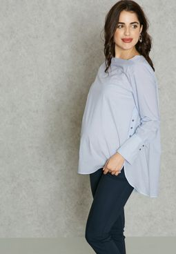 Maternity Side Button Detail Top