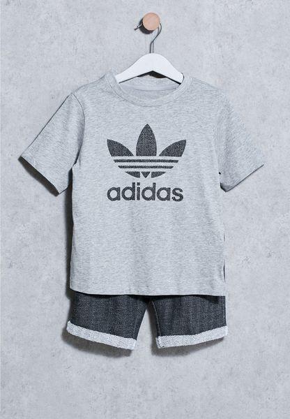 Shop Adidas Originals Grey Infant Trefoil T Shirt Shorts Set BK5748 For Children In Oman