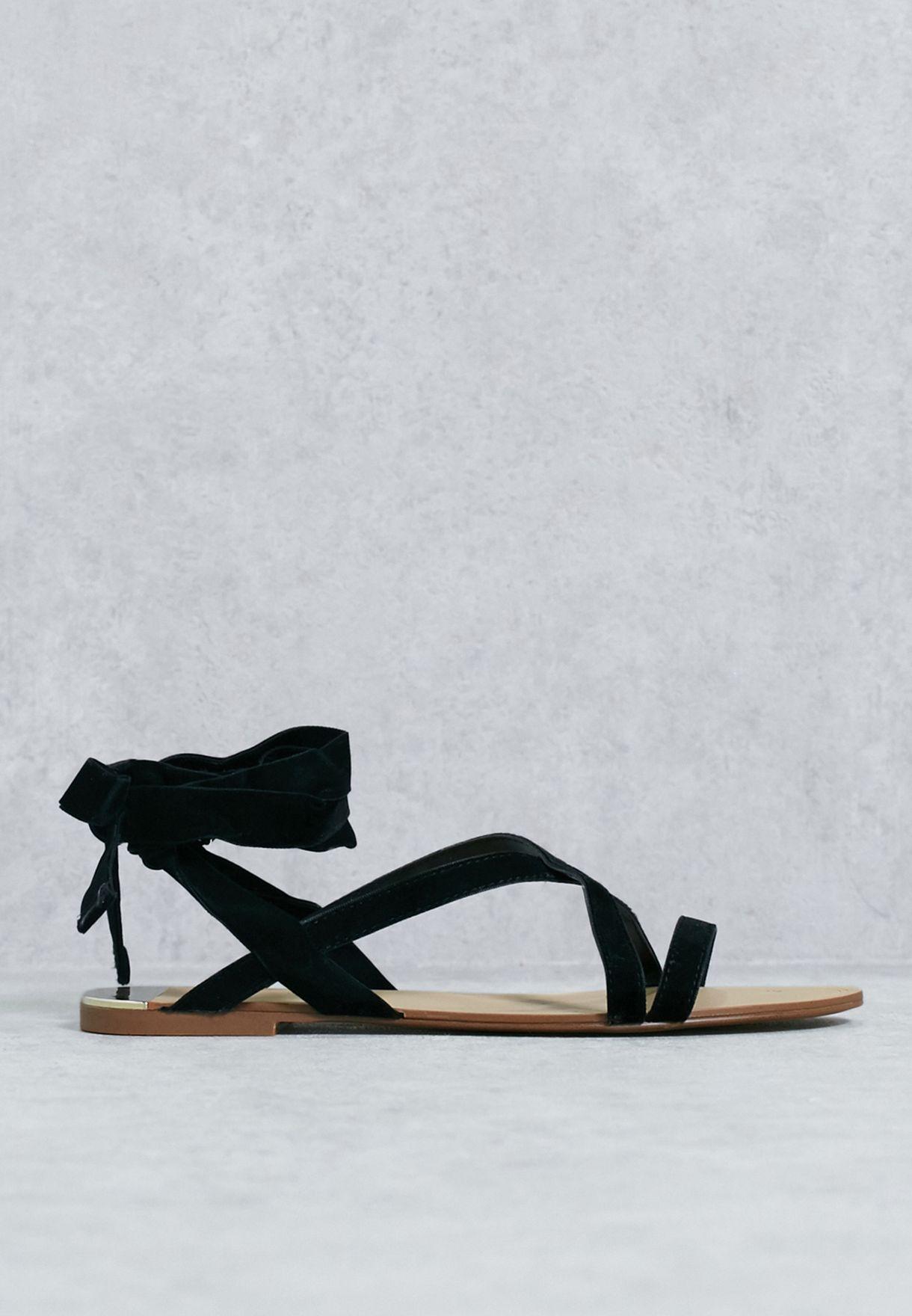 63a3082a52 Shop Mango black Velvet Strappy Sandal 84017024 for Women in Bahrain ...