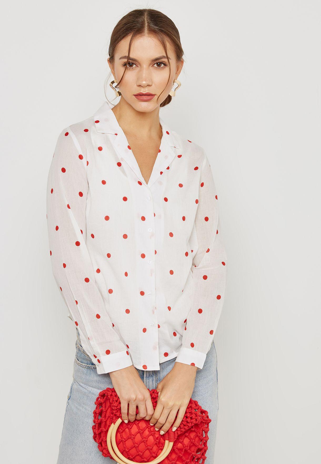 a37ac7195d3652 Shop Ichi white Polka Dot Shirt 20105987 for Women in Bahrain ...