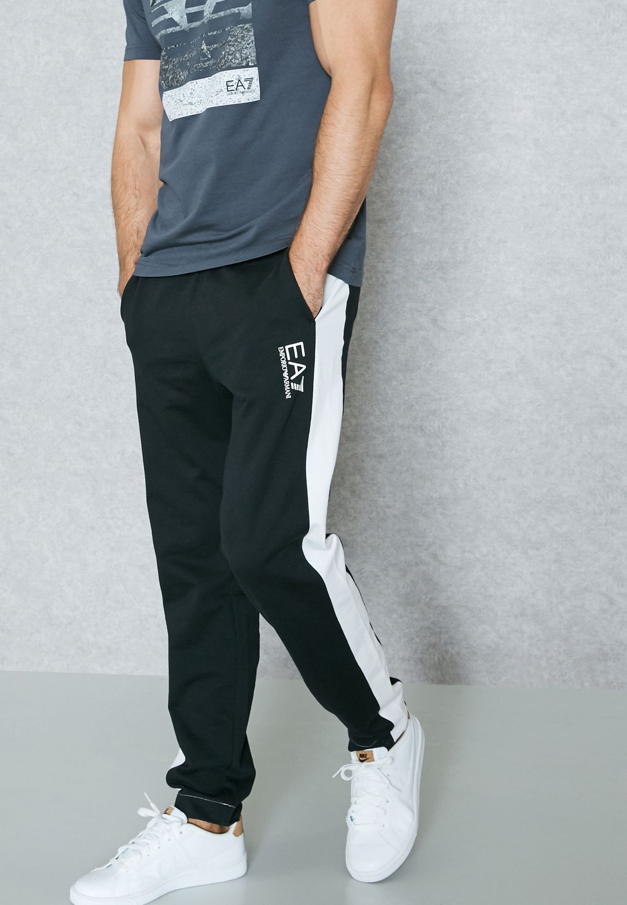 c7946d7ce Shop Ea7 Emporio Armani black Tritonal Logo Sweatpants PJ05Z-3YPP75 ...