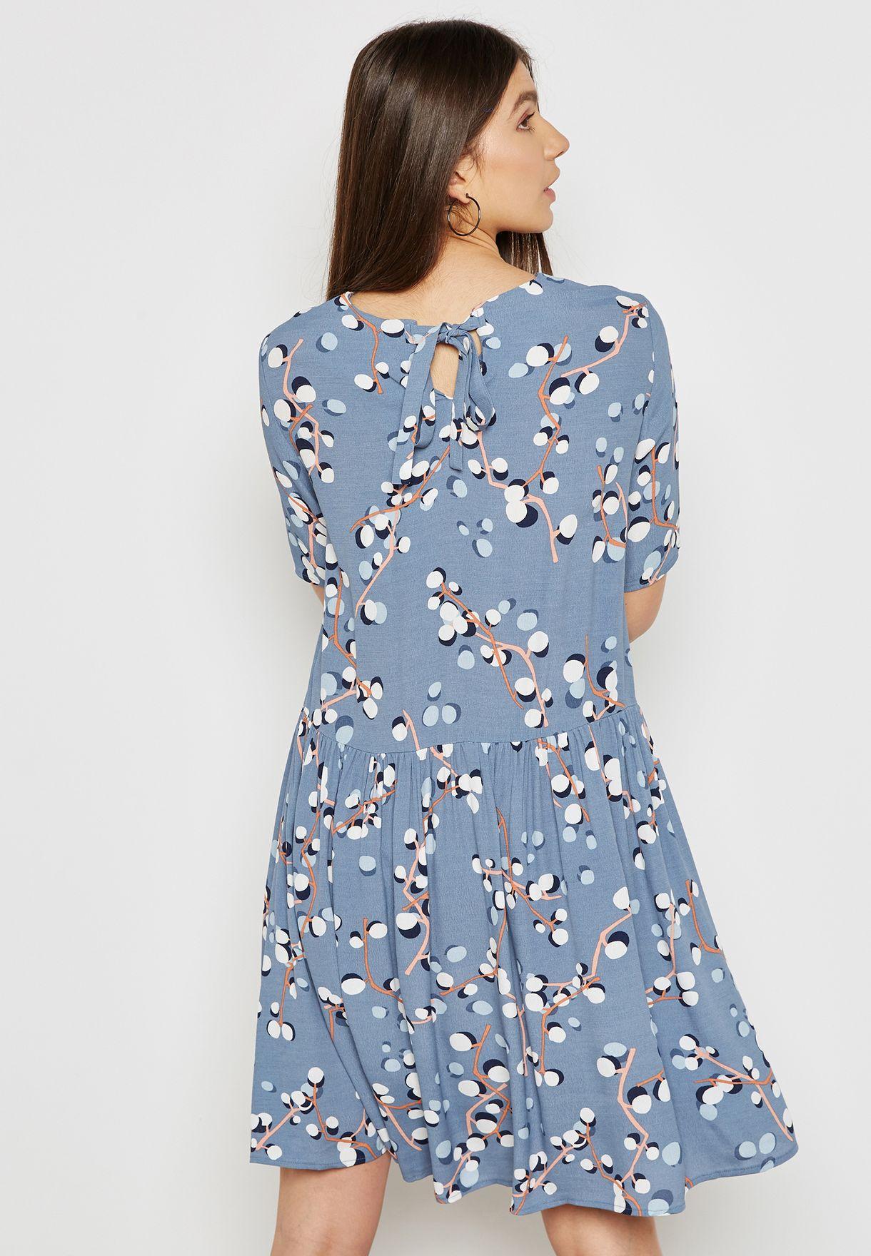Tie Back Printed Dress