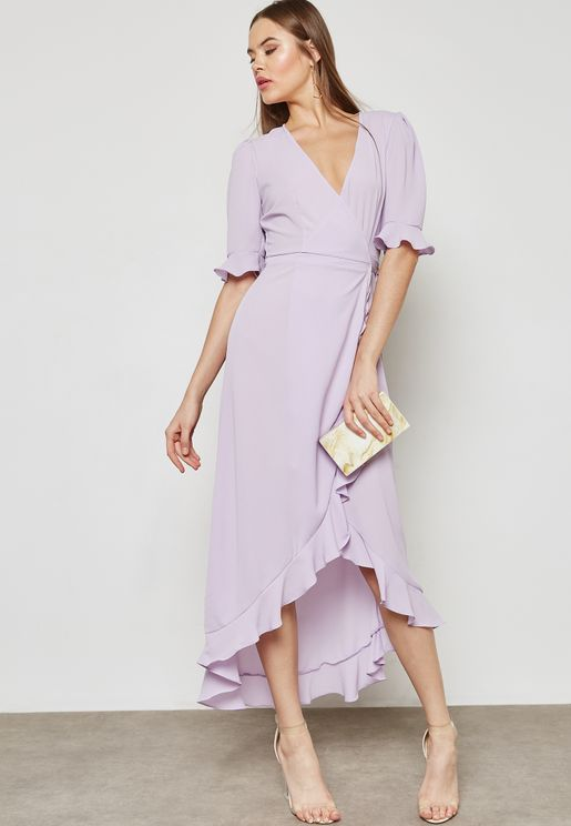 Wrap Front Ruffle Trim Maxi Dress