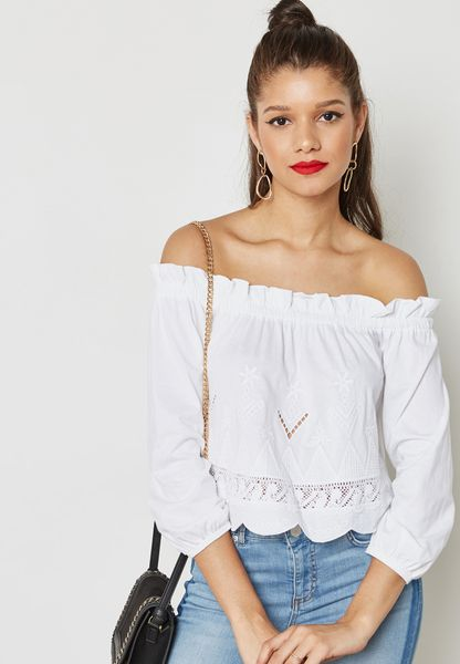 Embroidered Bardot Top