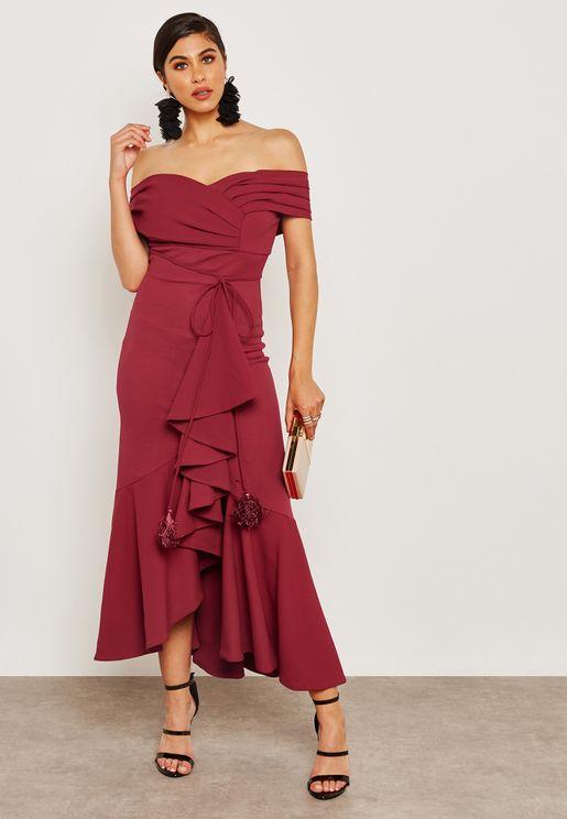 Off Shoulder Ruffle Dress