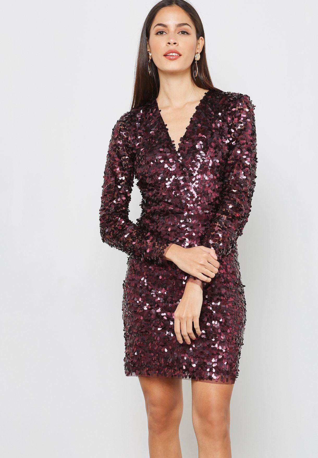 7951569c55 Shop Mango purple Sequin Dress 33049049 for Women in UAE - MA887AT56DPZ