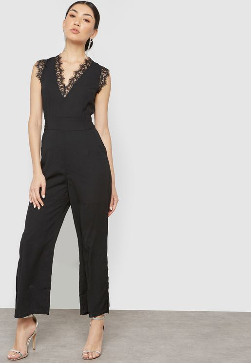 Lace Trim Side Slit Jumpsuit