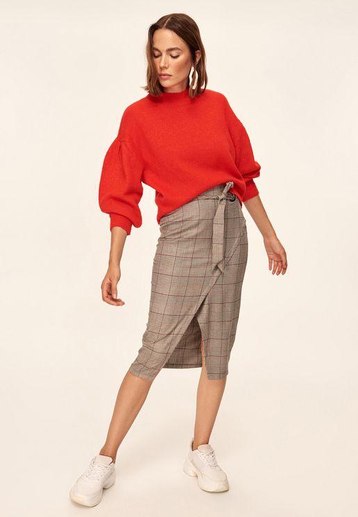 Checked Midi Wrap Skirt