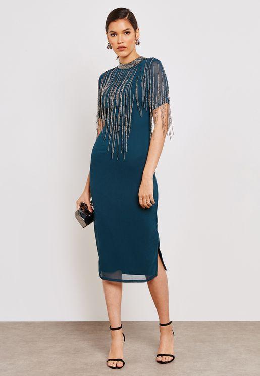 Open Back Fringe Detail Dress