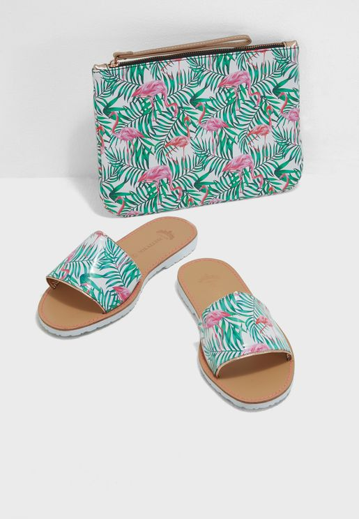 Flamingo Print Sandal With Clutch Set